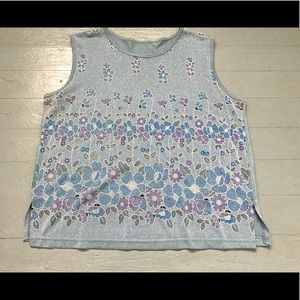 90's Y2K sparkly blue cropped floral tank top